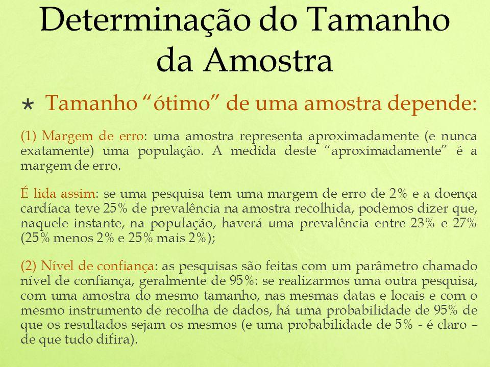 Determinação do Tamanho da Amostra Tamanho ótimo de uma amostra depende: (1) Margem de erro: uma amostra representa aproximadamente (e nunca exatamente) uma população.