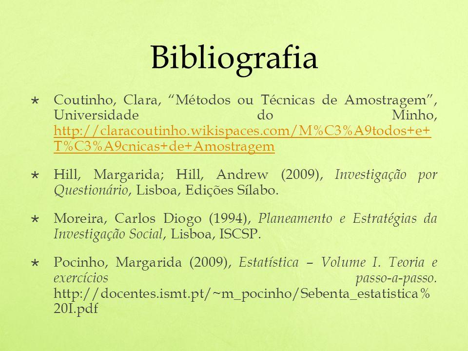 Bibliografia Coutinho, Clara, Métodos ou Técnicas de Amostragem, Universidade do Minho, http://claracoutinho.wikispaces.com/M%C3%A9todos+e+ T%C3%A9cnicas+de+Amostragem http://claracoutinho.wikispaces.com/M%C3%A9todos+e+ T%C3%A9cnicas+de+Amostragem Hill, Margarida; Hill, Andrew (2009), Investigação por Questionário, Lisboa, Edições Sílabo.