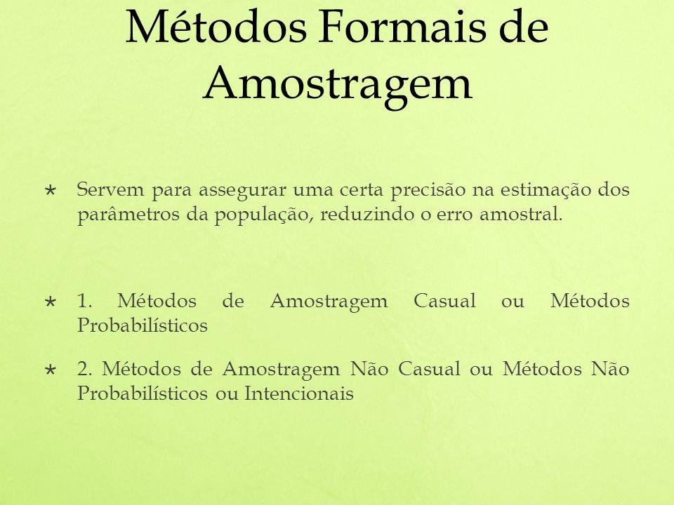 Métodos Formais de Amostragem Servem para assegurar uma certa precisão na estimação dos parâmetros da população, reduzindo o erro amostral.