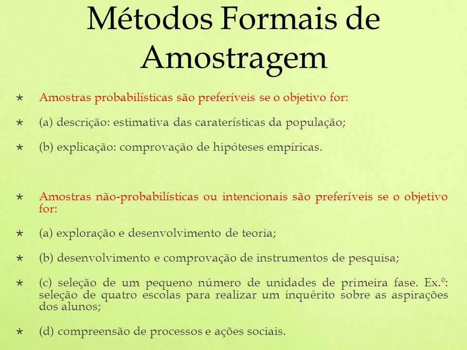 Métodos Formais de Amostragem Amostras probabilísticas são preferíveis se o objetivo for: (a) descrição: estimativa das caraterísticas da população; (b) explicação: comprovação de hipóteses empíricas.