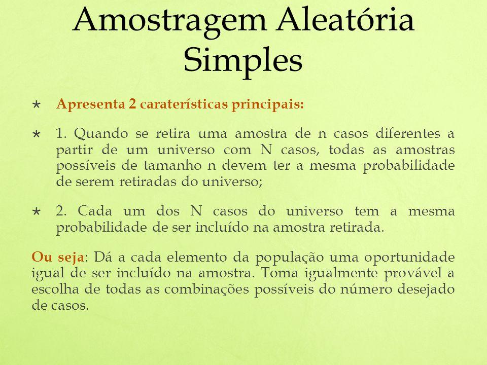Amostragem Aleatória Simples Apresenta 2 caraterísticas principais: 1.