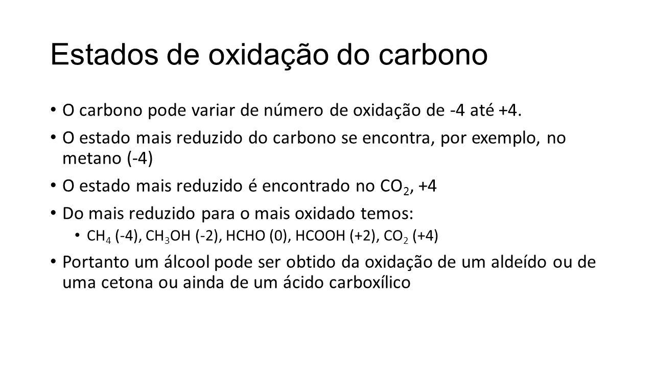 Estados de oxidação do carbono O carbono pode variar de número de oxidação de -4 até +4. O estado mais reduzido do carbono se encontra, por exemplo, n