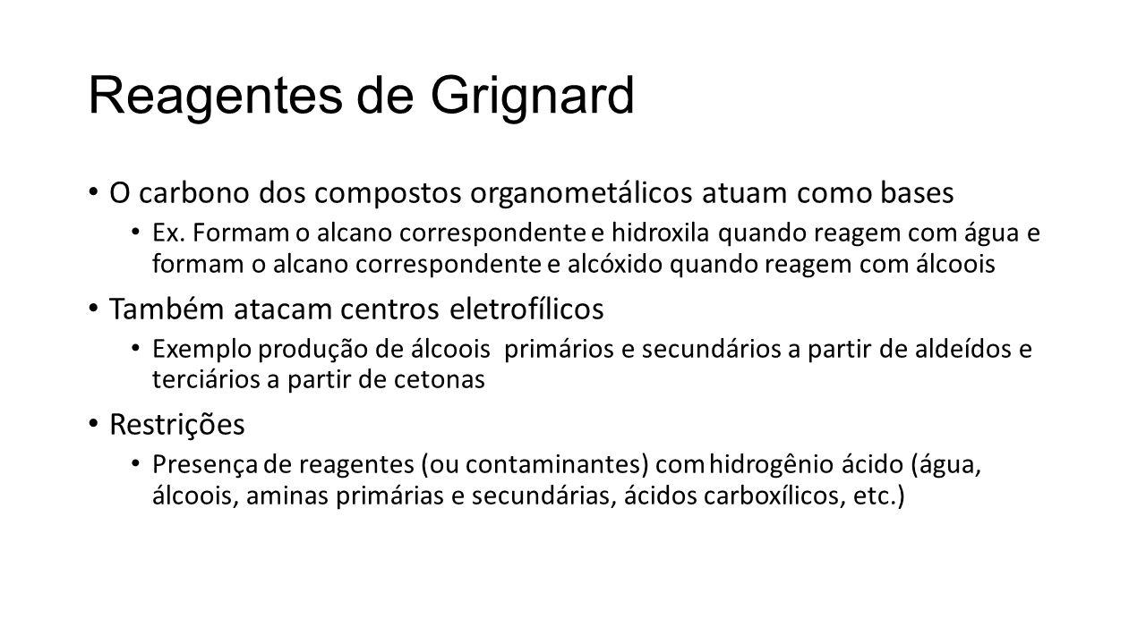 Reagentes de Grignard O carbono dos compostos organometálicos atuam como bases Ex. Formam o alcano correspondente e hidroxila quando reagem com água e