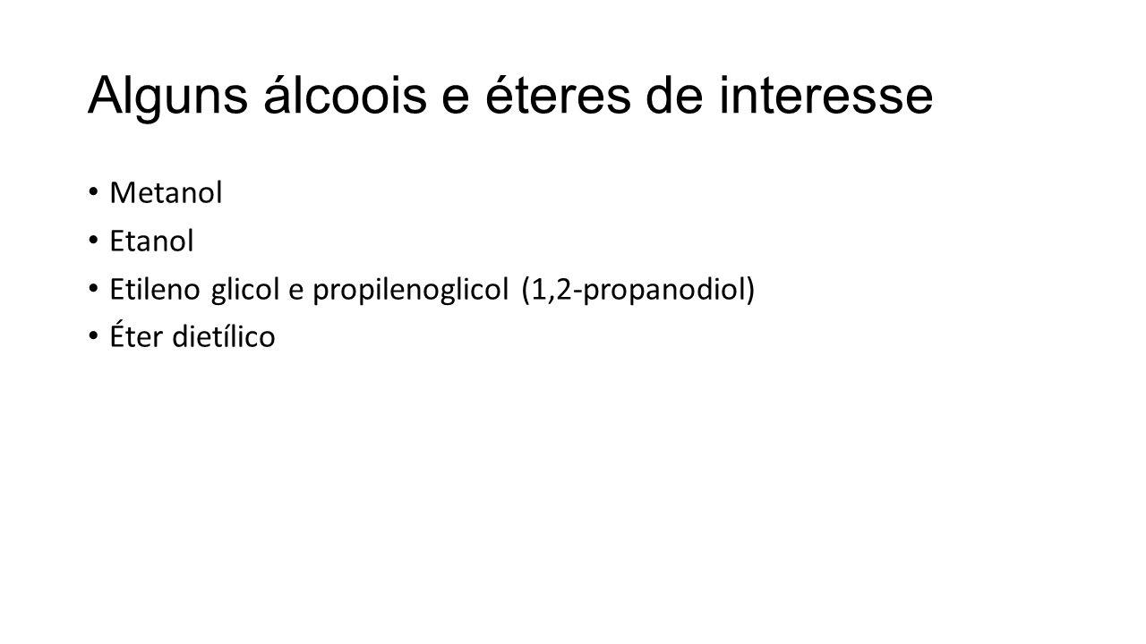 Alguns álcoois e éteres de interesse Metanol Etanol Etileno glicol e propilenoglicol (1,2-propanodiol) Éter dietílico