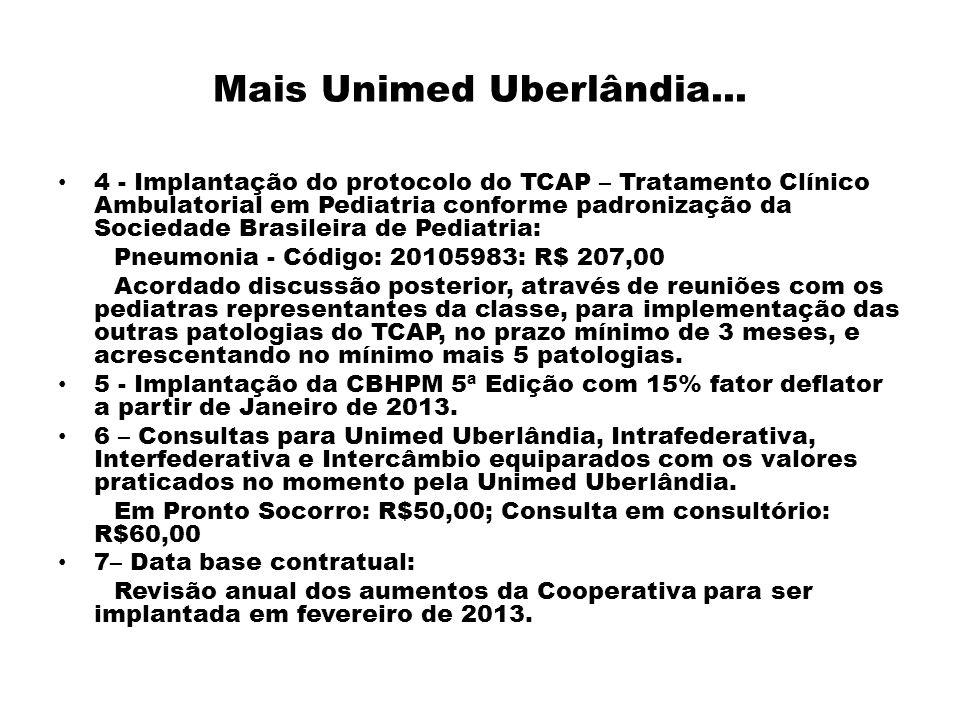 Mais Unimed Uberlândia... 4 - Implantação do protocolo do TCAP – Tratamento Clínico Ambulatorial em Pediatria conforme padronização da Sociedade Brasi