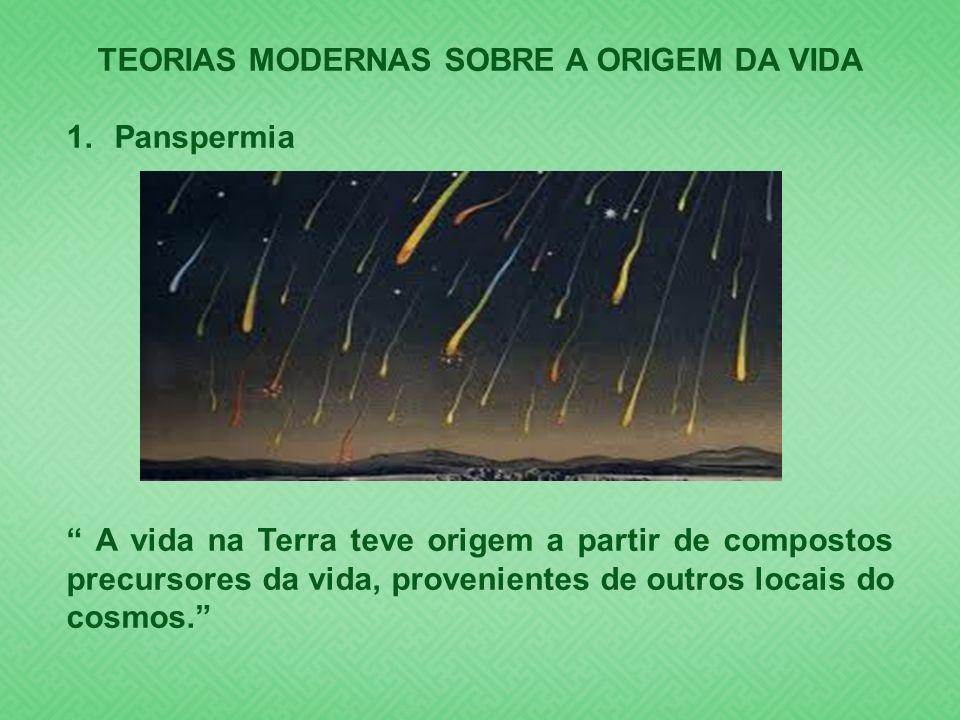 TEORIAS MODERNAS SOBRE A ORIGEM DA VIDA 1.Panspermia A vida na Terra teve origem a partir de compostos precursores da vida, provenientes de outros loc