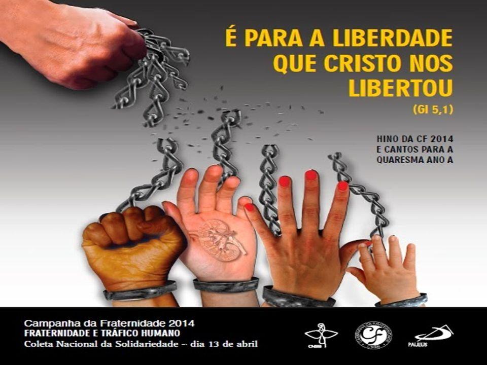 1 – Reflete a crueldade do tráfico humano. As mãos acorrentadas e estendidas simbolizam a situação de dominação e exploração. A mão que sustenta as co