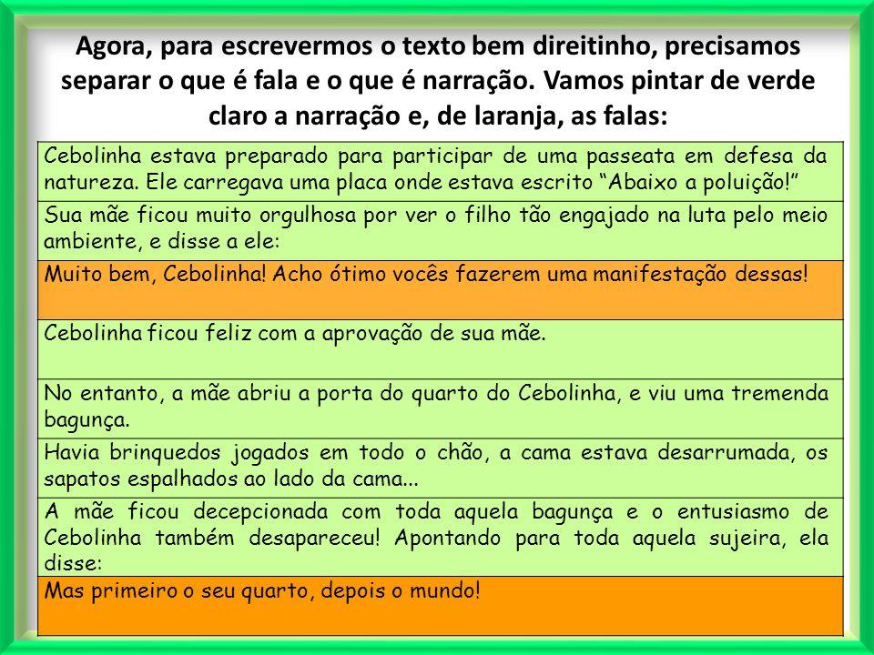 Profª. Lilian Larroca Agora, para escrevermos o texto bem direitinho, precisamos separar o que é fala e o que é narração. Vamos pintar de verde claro