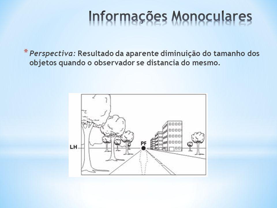 * Perspectiva: Resultado da aparente diminuição do tamanho dos objetos quando o observador se distancia do mesmo.
