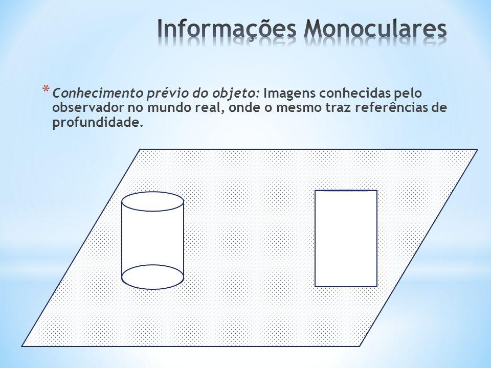 * Conhecimento prévio do objeto: Imagens conhecidas pelo observador no mundo real, onde o mesmo traz referências de profundidade.