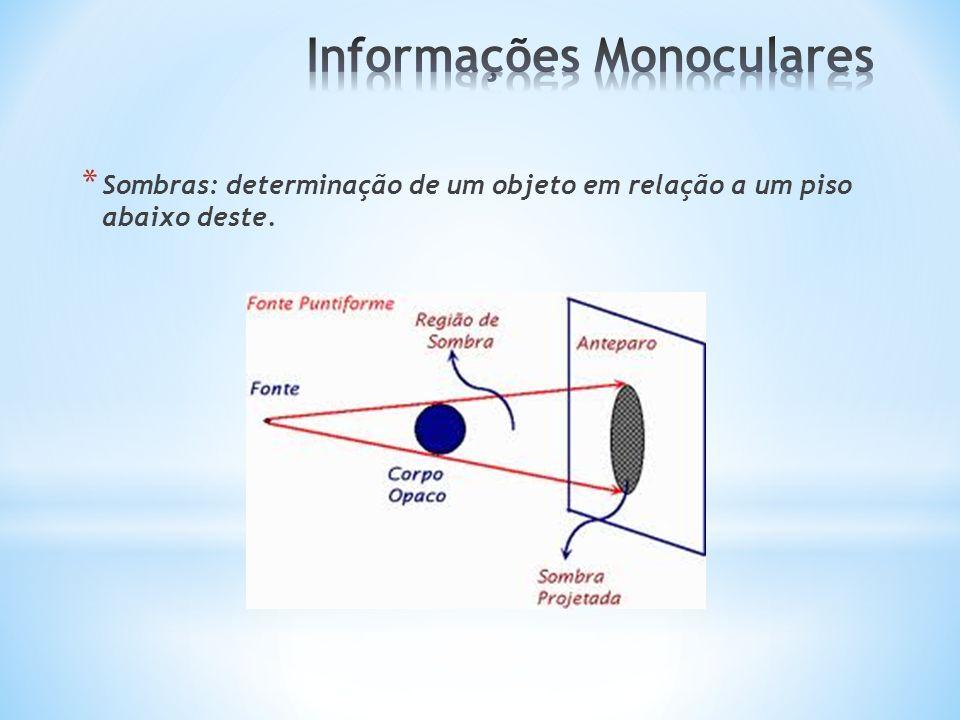 * Sombras: determinação de um objeto em relação a um piso abaixo deste.