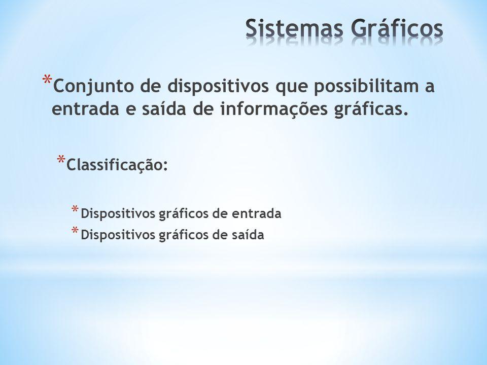 * Conjunto de dispositivos que possibilitam a entrada e saída de informações gráficas. * Classificação: * Dispositivos gráficos de entrada * Dispositi