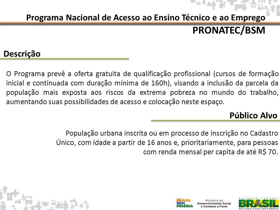 Programa Nacional de Acesso ao Ensino Técnico e ao Emprego PRONATEC/BSM Parceiro Escolaridade Ministério da Educação (MEC) Letramento Inicial Ensino Fundamental Incompleto Ensino Fundamental Completo Ensino Médio Incompleto