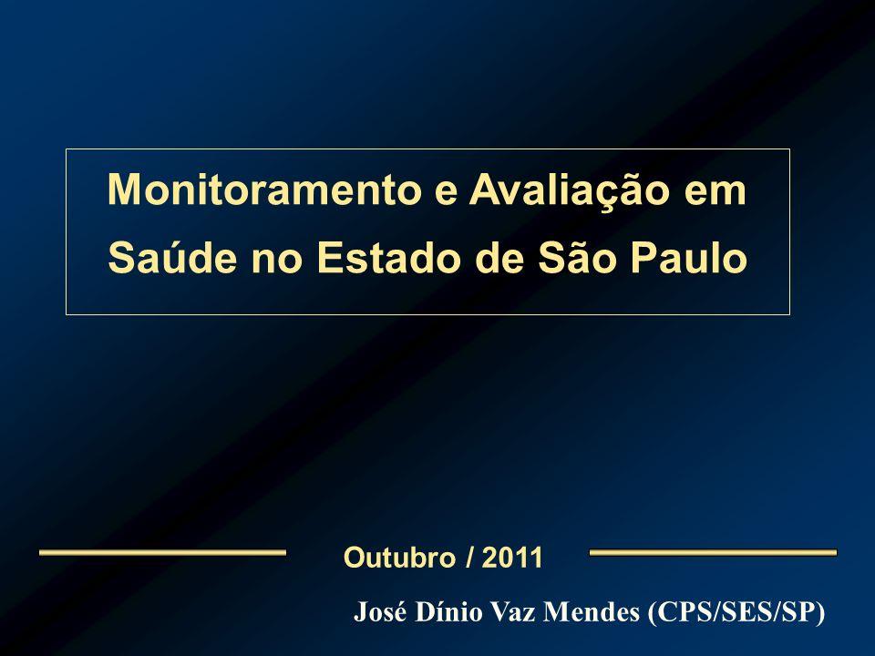 Outubro / 2011 Monitoramento e Avaliação em Saúde no Estado de São Paulo José Dínio Vaz Mendes (CPS/SES/SP)