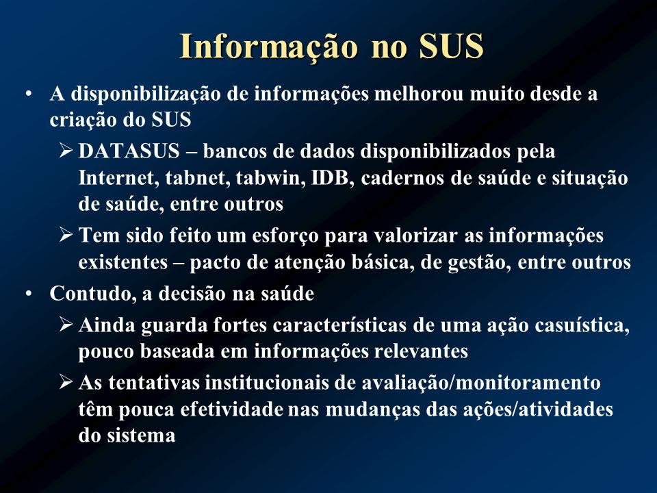 Informação no SUS A disponibilização de informações melhorou muito desde a criação do SUS DATASUS – bancos de dados disponibilizados pela Internet, ta