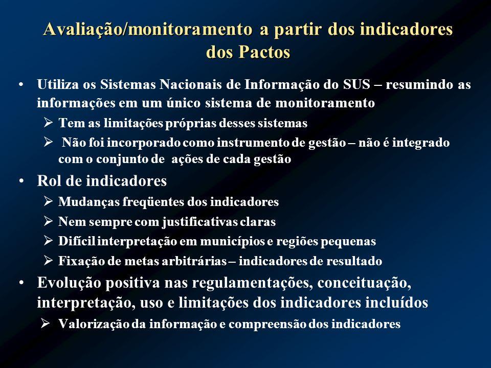 Avaliação/monitoramento a partir dos indicadores dos Pactos Utiliza os Sistemas Nacionais de Informação do SUS – resumindo as informações em um único