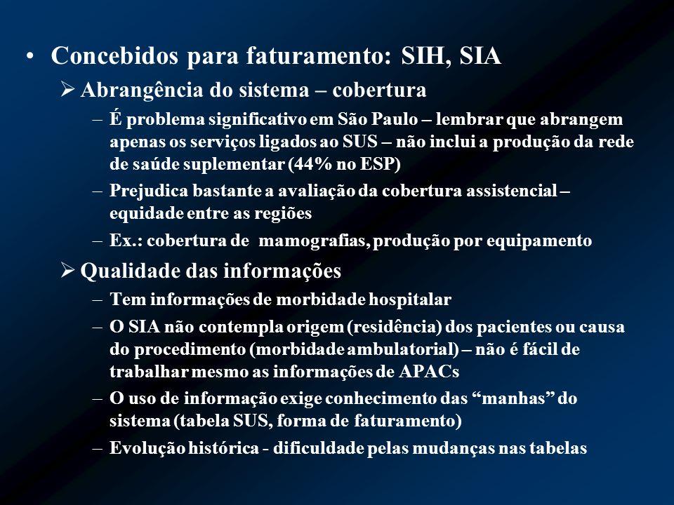 Concebidos para faturamento: SIH, SIA Abrangência do sistema – cobertura –É problema significativo em São Paulo – lembrar que abrangem apenas os servi