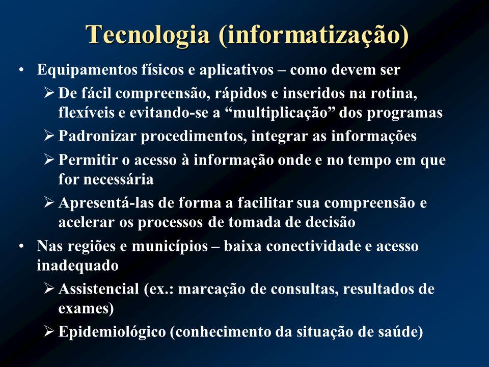 Tecnologia (informatização) Equipamentos físicos e aplicativos – como devem ser De fácil compreensão, rápidos e inseridos na rotina, flexíveis e evita