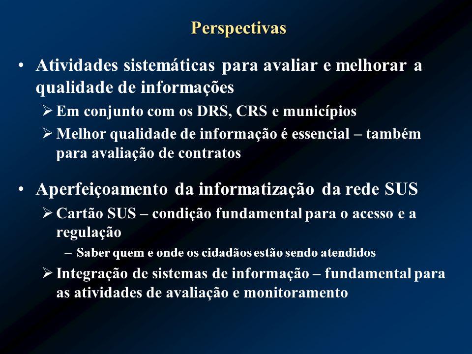 Perspectivas Atividades sistemáticas para avaliar e melhorar a qualidade de informações Em conjunto com os DRS, CRS e municípios Melhor qualidade de i