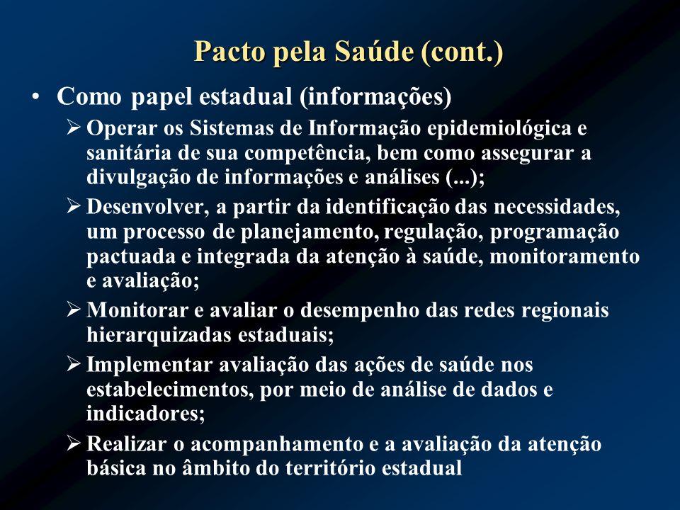 Pacto pela Saúde (cont.) Como papel estadual (informações) Operar os Sistemas de Informação epidemiológica e sanitária de sua competência, bem como as