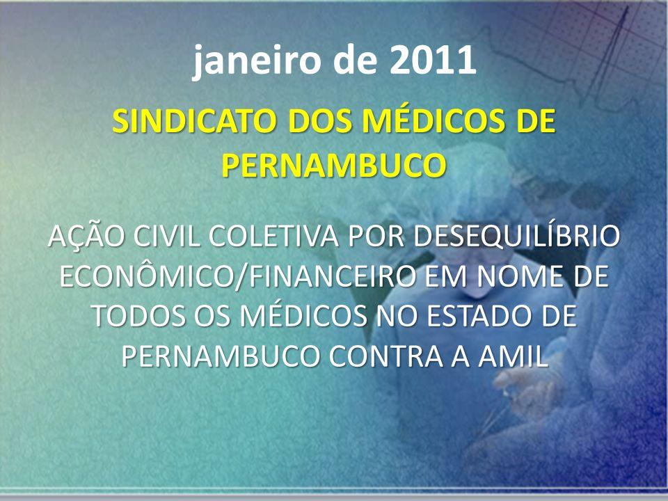 SINDICATO DOS MÉDICOS DE PERNAMBUCO AÇÃO CIVIL COLETIVA POR DESEQUILÍBRIO ECONÔMICO/FINANCEIRO EM NOME DE TODOS OS MÉDICOS NO ESTADO DE PERNAMBUCO CON