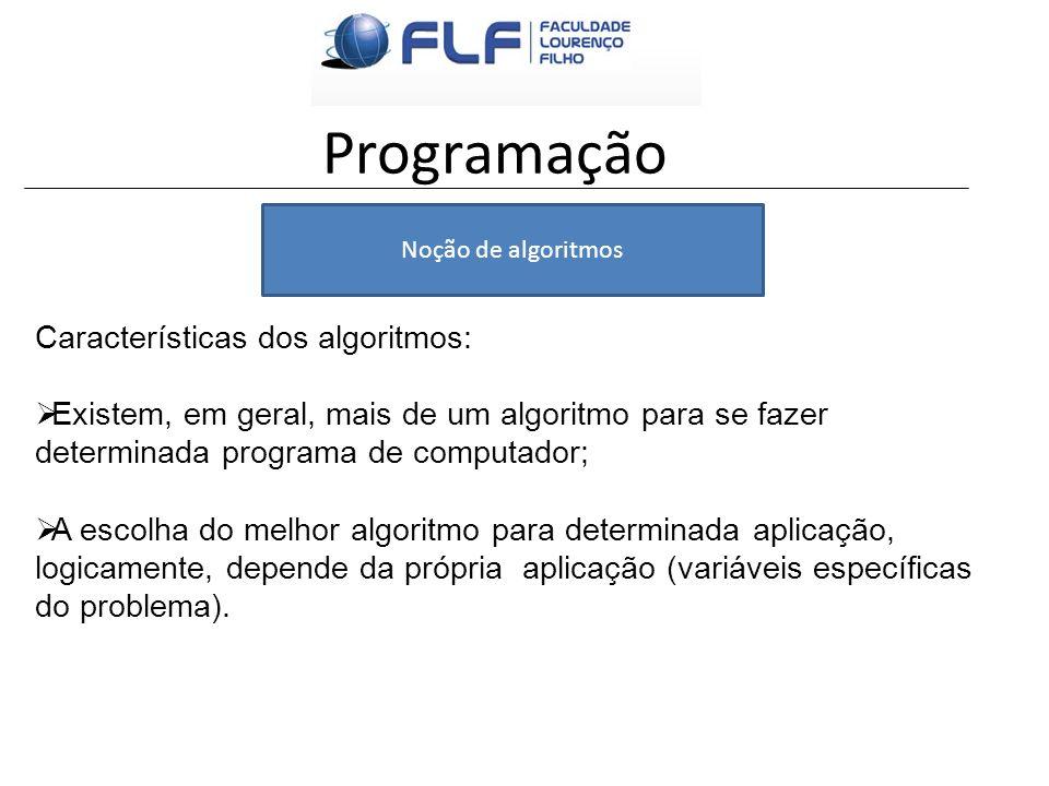 Programação Noção de algoritmos Características dos algoritmos: Existem, em geral, mais de um algoritmo para se fazer determinada programa de computad