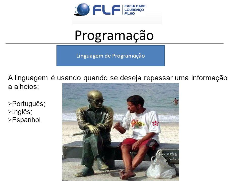 Programação A linguagem é usando quando se deseja repassar uma informação a alheios; >Português; >Inglês; >Espanhol. Linguagem de Programação
