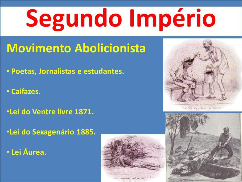 Segundo Império Movimento Abolicionista Poetas, Jornalistas e estudantes.