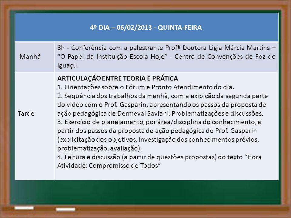 4º DIA – 06/02/2013 - QUINTA-FEIRA Manhã 8h - Conferência com a palestrante Profª Doutora Ligia Márcia Martins – O Papel da Instituição Escola Hoje -