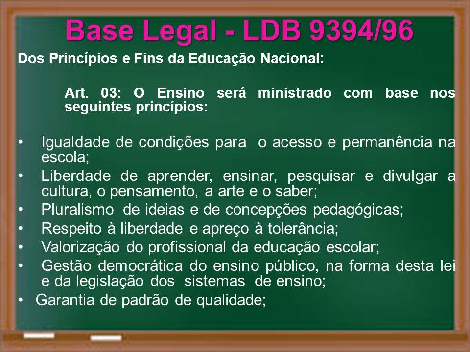 Base Legal - LDB 9394/96 Dos Princípios e Fins da Educação Nacional: Art. 03: O Ensino será ministrado com base nos seguintes princípios: Igualdade de