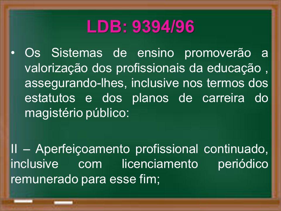 LDB: 9394/96 Os Sistemas de ensino promoverão a valorização dos profissionais da educação, assegurando-lhes, inclusive nos termos dos estatutos e dos