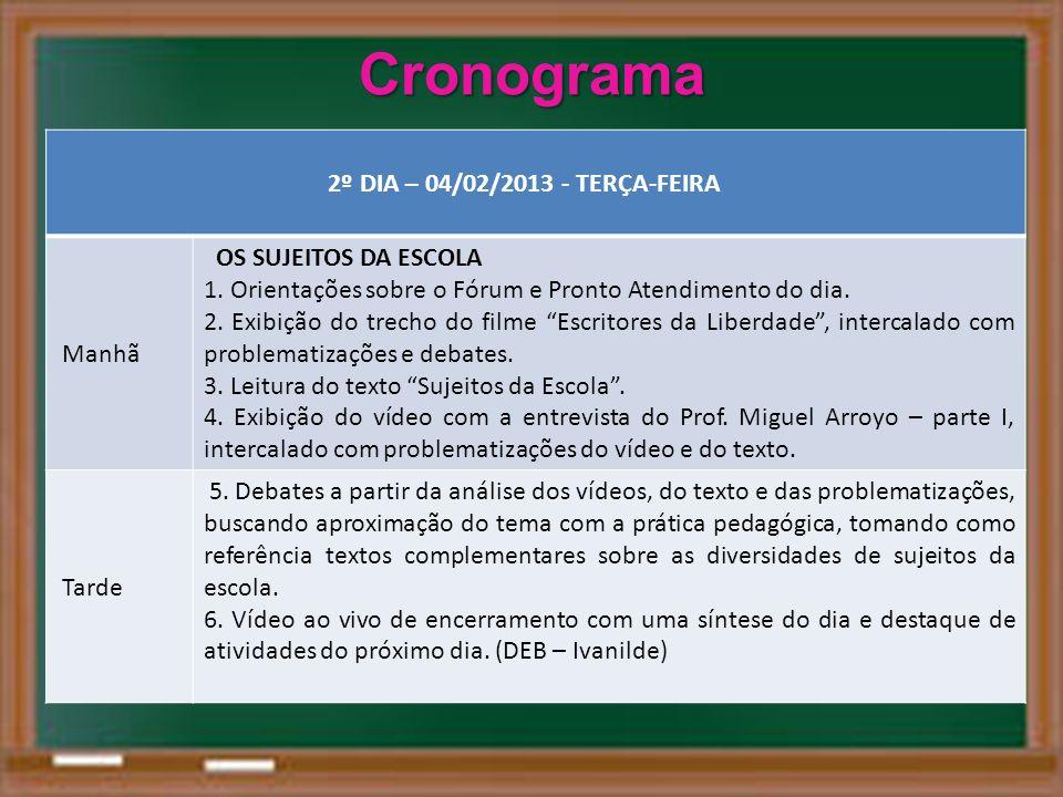 Cronograma 2º DIA – 04/02/2013 - TERÇA-FEIRA Manhã OS SUJEITOS DA ESCOLA 1. Orientações sobre o Fórum e Pronto Atendimento do dia. 2. Exibição do trec