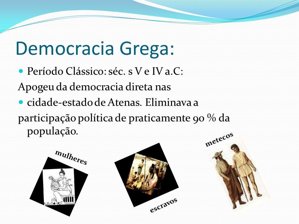 Democracia Grega: Período Clássico: séc. s V e IV a.C: Apogeu da democracia direta nas cidade-estado de Atenas. Eliminava a participação política de p
