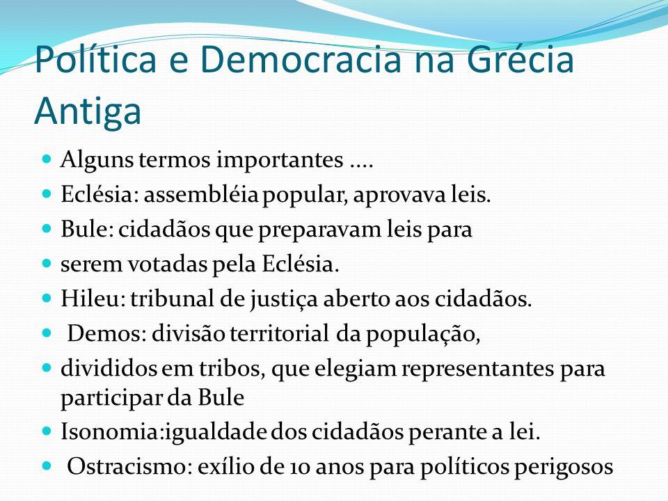 Política e Democracia na Grécia Antiga Alguns termos importantes.... Eclésia: assembléia popular, aprovava leis. Bule: cidadãos que preparavam leis pa