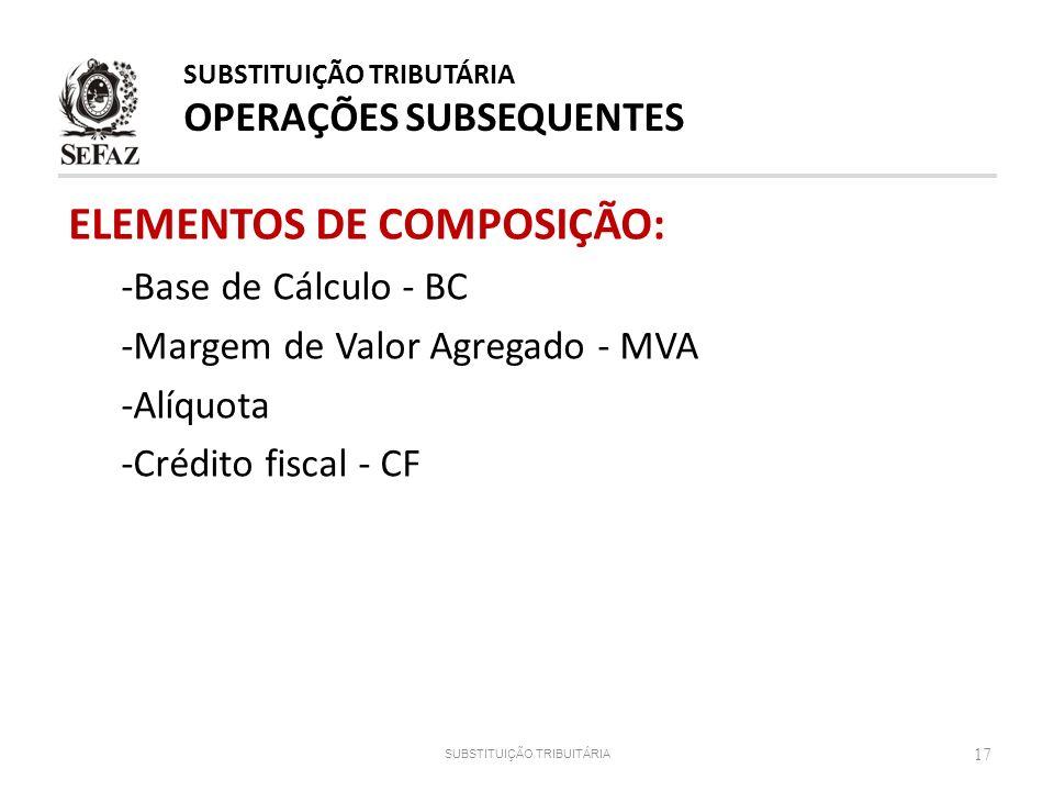 ELEMENTOS DE COMPOSIÇÃO: -Base de Cálculo - BC -Margem de Valor Agregado - MVA -Alíquota -Crédito fiscal - CF 17 SUBSTITUIÇÃO TRIBUITÁRIA SUBSTITUIÇÃO
