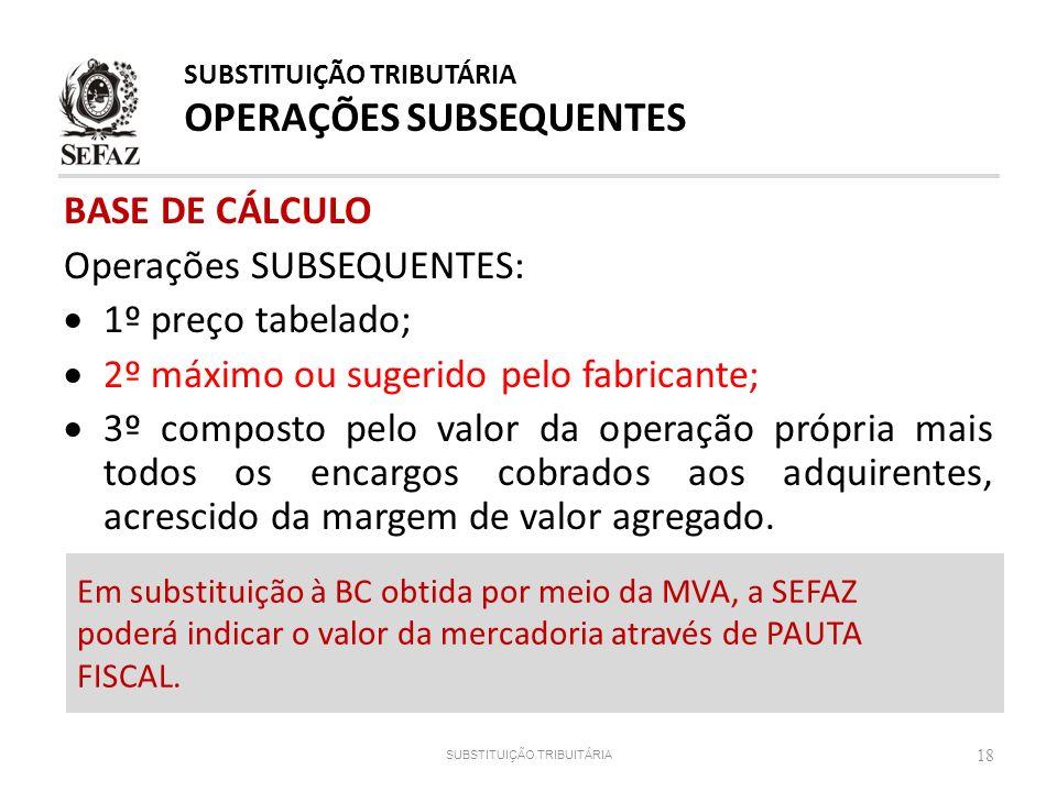 BASE DE CÁLCULO Operações SUBSEQUENTES: 1º preço tabelado; 2º máximo ou sugerido pelo fabricante; 3º composto pelo valor da operação própria mais todo