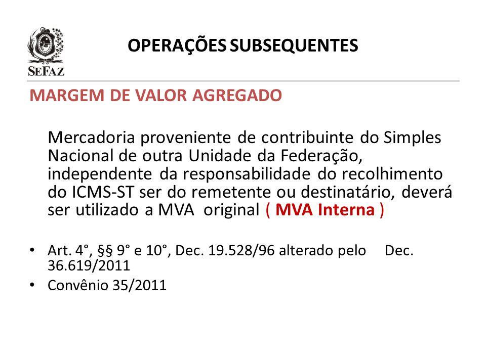 OPERAÇÕES SUBSEQUENTES MARGEM DE VALOR AGREGADO Mercadoria proveniente de contribuinte do Simples Nacional de outra Unidade da Federação, independente