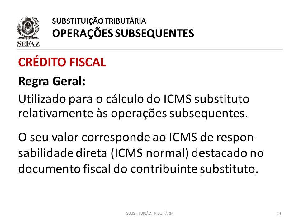 CRÉDITO FISCAL Regra Geral: Utilizado para o cálculo do ICMS substituto relativamente às operações subsequentes. O seu valor corresponde ao ICMS de re