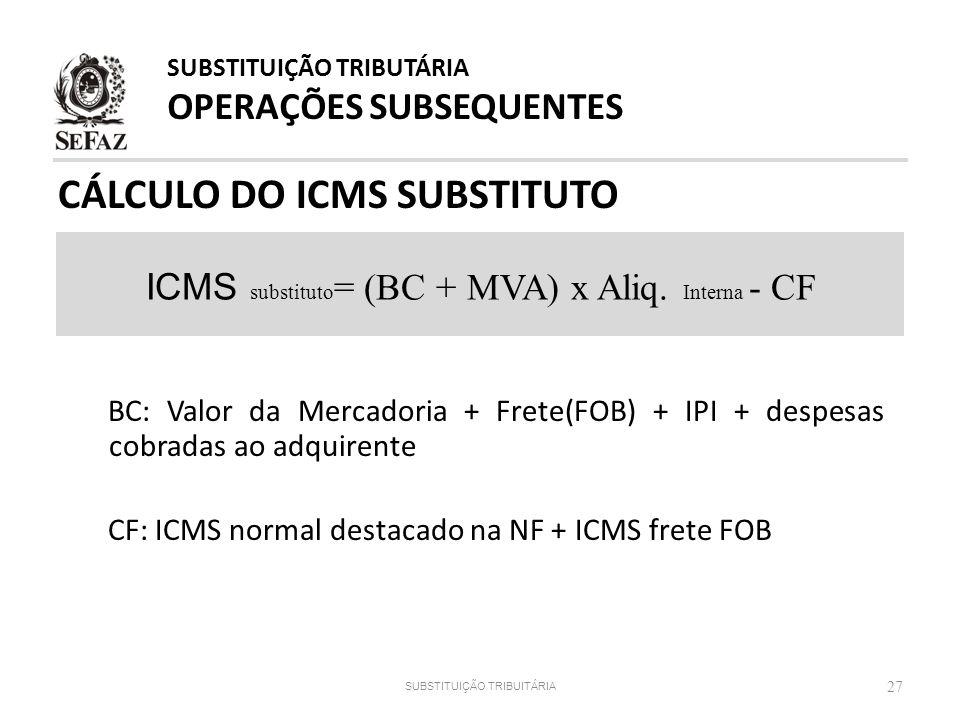 CÁLCULO DO ICMS SUBSTITUTO 27 ICMS substituto = (BC + MVA) x Aliq. Interna - CF SUBSTITUIÇÃO TRIBUTÁRIA OPERAÇÕES SUBSEQUENTES SUBSTITUIÇÃO TRIBUITÁRI