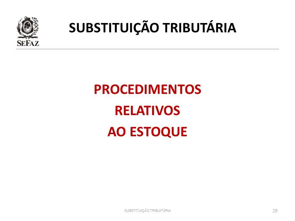 PROCEDIMENTOS RELATIVOS AO ESTOQUE 29 SUBSTITUIÇÃO TRIBUITÁRIA SUBSTITUIÇÃO TRIBUTÁRIA