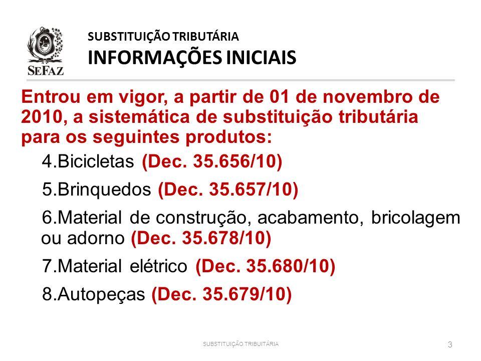 Entrou em vigor, a partir de 01 de novembro de 2010, a sistemática de substituição tributária para os seguintes produtos: 4.Bicicletas (Dec. 35.656/10