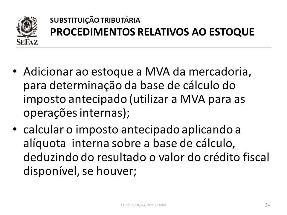 Adicionar ao estoque a MVA da mercadoria, para determinação da base de cálculo do imposto antecipado (utilizar a MVA para as operações internas); calc