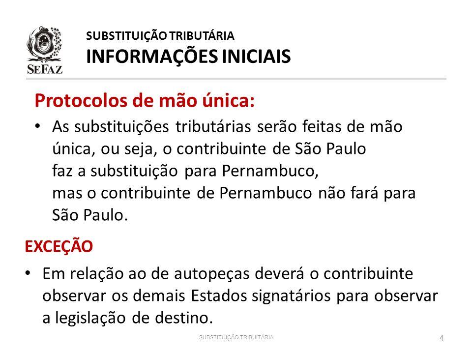 Protocolos de mão única: As substituições tributárias serão feitas de mão única, ou seja, o contribuinte de São Paulo faz a substituição para Pernambu
