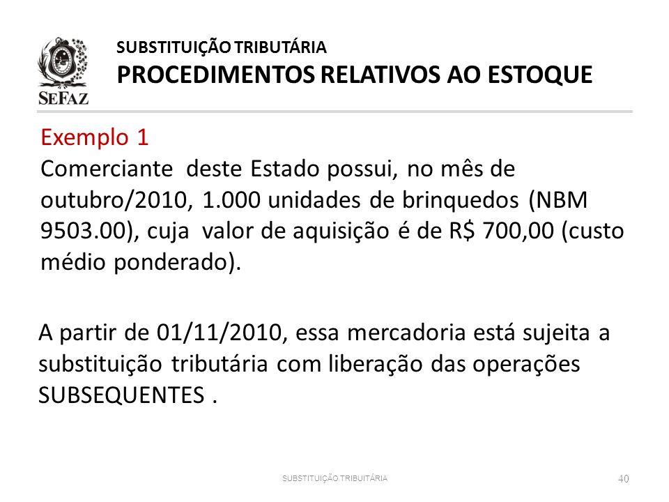Exemplo 1 Comerciante deste Estado possui, no mês de outubro/2010, 1.000 unidades de brinquedos (NBM 9503.00), cuja valor de aquisição é de R$ 700,00