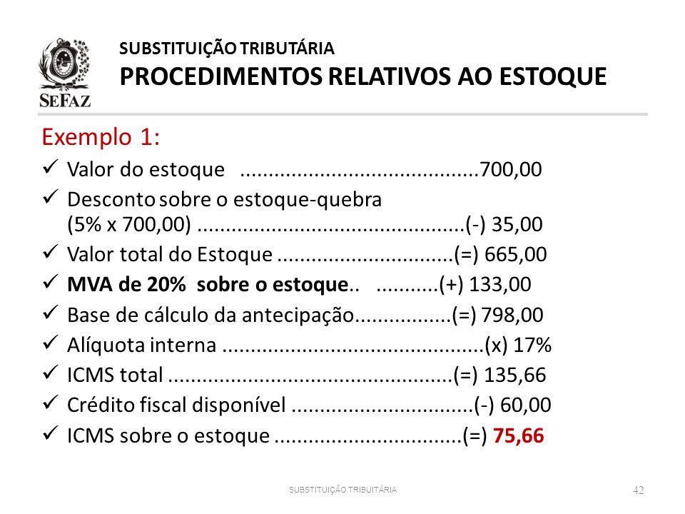 Exemplo 1: Valor do estoque..........................................700,00 Desconto sobre o estoque-quebra (5% x 700,00).............................