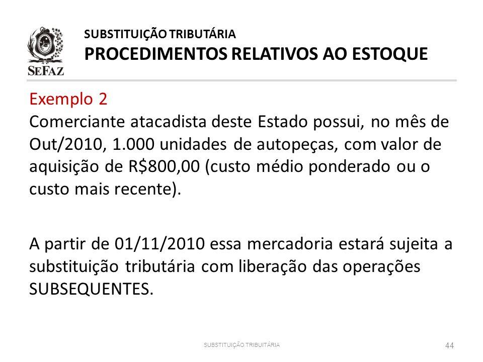 Exemplo 2 Comerciante atacadista deste Estado possui, no mês de Out/2010, 1.000 unidades de autopeças, com valor de aquisição de R$800,00 (custo médio