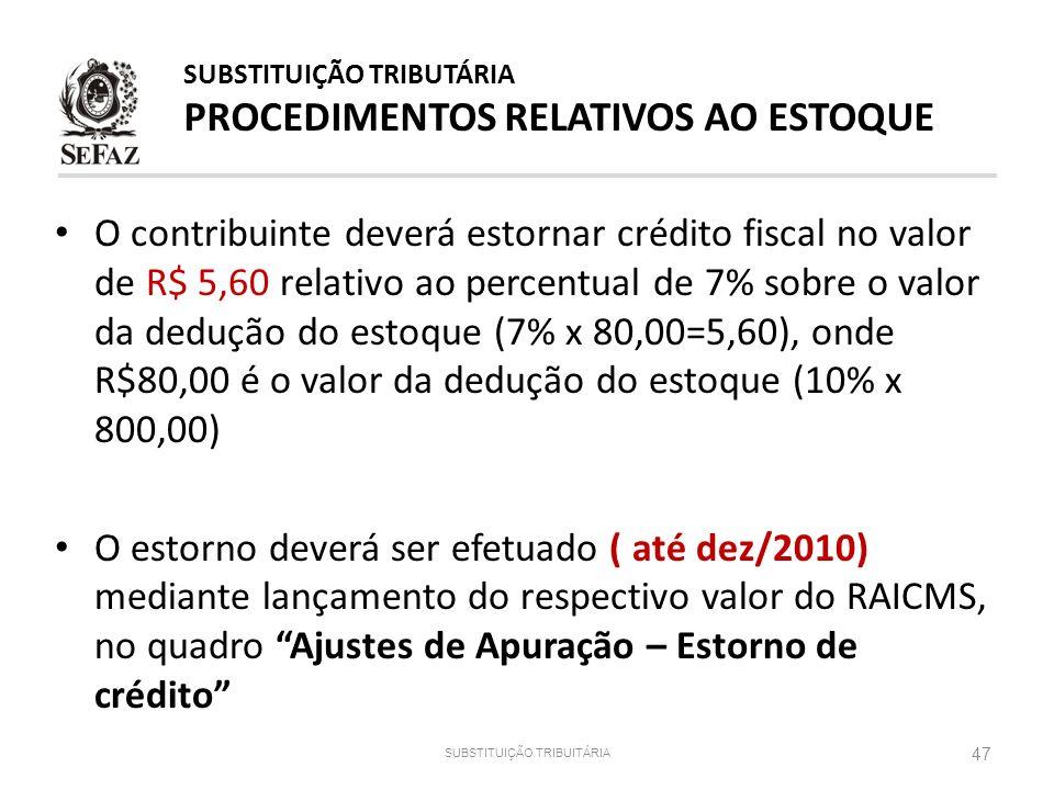 O contribuinte deverá estornar crédito fiscal no valor de R$ 5,60 relativo ao percentual de 7% sobre o valor da dedução do estoque (7% x 80,00=5,60),