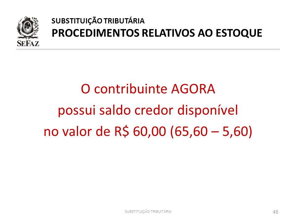 O contribuinte AGORA possui saldo credor disponível no valor de R$ 60,00 (65,60 – 5,60) SUBSTITUIÇÃO TRIBUITÁRIA 48 SUBSTITUIÇÃO TRIBUTÁRIA PROCEDIMEN