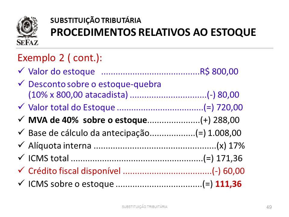 SUBSTITUIÇÃO TRIBUITÁRIA 49 Exemplo 2 ( cont.): Valor do estoque.........................................R$ 800,00 Desconto sobre o estoque-quebra (10
