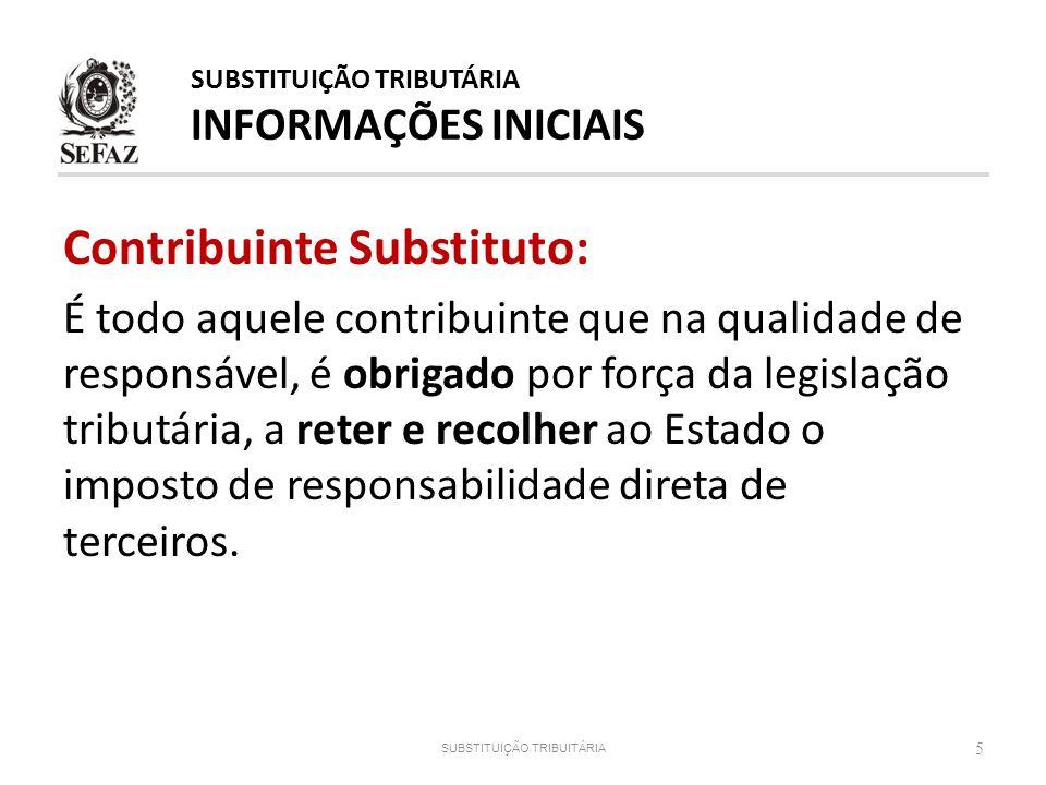 Contribuinte Substituto: É todo aquele contribuinte que na qualidade de responsável, é obrigado por força da legislação tributária, a reter e recolher